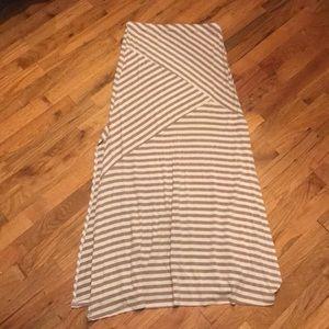 Tan and white maxi skirt
